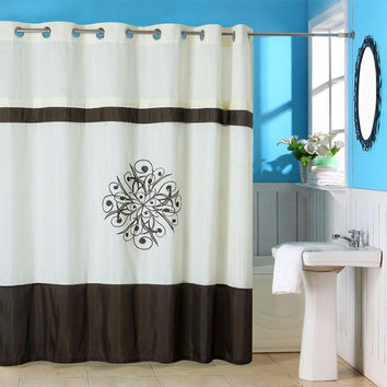 Lavish Home Lewiston Embroidered Shower Curtain w- Grommets