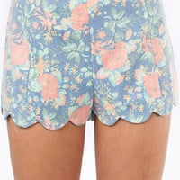 Floral Scallop Shorts $39