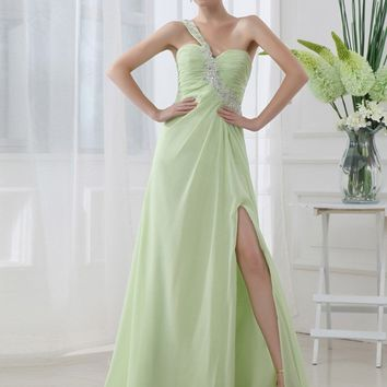 Mint Green Long Prom Dress High Slit Lace Elegant Evening Dresses One Shoulder robe de soiree long SD012