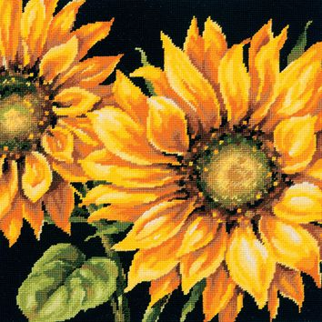 """14""""X14"""" Stitched In Wool Dramatic Sunflower Needlepoint Kit"""
