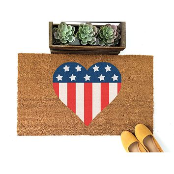 Patriotic Heart Doormat