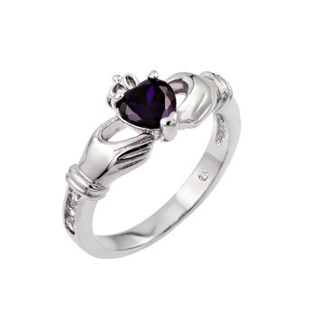 Sterling Silver Purple Cubic Zirconia Heart Claddagh Fashion Right Hand Ring: Size: 5