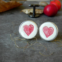 Ceramic Cuff Links Red Heart Novelty Gift Porcelain Cuff Links Woman Wedding Gift Father Boss Coworker Gift Red Green Holly Pottery