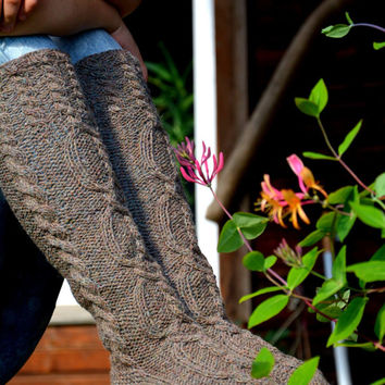 Knitted Natural Wool Socks, Handmade Knee High Wool Socks, Rustic socks with cables, Warm woolen socks handmade, Socks with cables