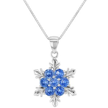 925 Sterling Silver Blue CZ Snowflake Pendant Necklace Girls Kids 16""