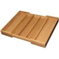 Totally Bamboo Medium Expandable Cutlery Tray & Drawer Organizer, 5 Compartments, 2 with Adjustable Dimensions, Beautiful and Durable Bamboo