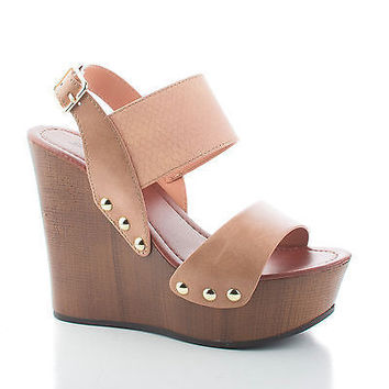 Zarita Camel Tan Open Toe Strappy Slingback Faux Wooden Platform Wedge Heel