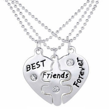Best Friends Forever Heart Puzzle Necklaces 3 pcs