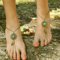 Barefoot Sandals Footless Sandals Anklet Toe Ring Foot Jewelry Boho Bohemian Gypsy Floral Green Disk
