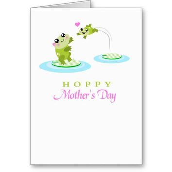 Cute Frog Hoppy Happy Mothers Day card from Zazzle.com