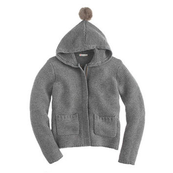 crewcuts Girls Hooded Wool Jacket With Pom-Pom