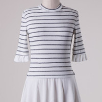 High Neck Striped Knit Double Layer Look Tunic Top - White/Gray
