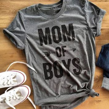 Women Summer Mom Of Boys Jumper Letters Arrow Printed O Neck Tee T-Shirt Top