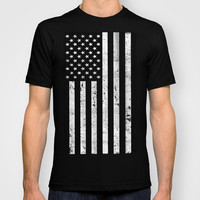 Dirty Vintage Black and White American Flag T-shirt by RexLambo