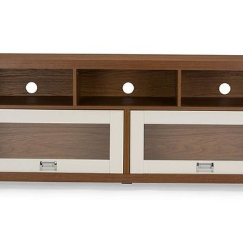 Baxton Studio  Swindon Modern Two-tone Walnut and White TV Stand with Glass Doors Set of 1