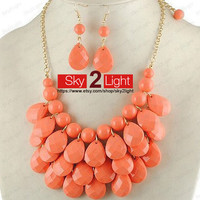 Womens orange Necklace and Earrings set Bubble Necklace wedding necklace orange Bib Necklace Drop Shape Necklace Statement Necklace