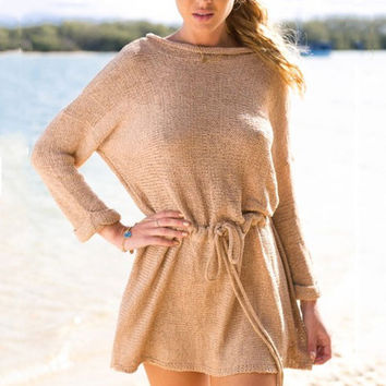 Long Sleeve A-Line Waist Sweater Dress