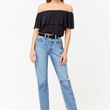 Flounce Off-the-Shoulder Crop Top