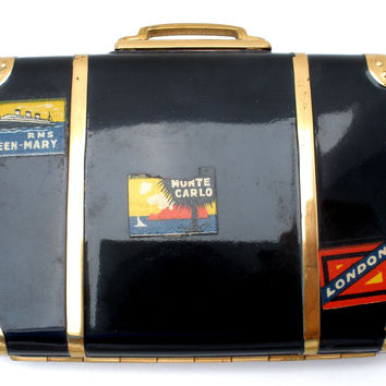 "Hingeco ""The Tramp"" Black Suitcase Compact Vintage"