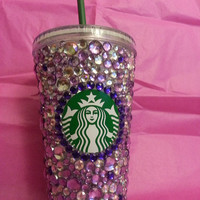 16 fl oz. Starbucks cold cup, decorated in multi colored gems to your liking, with a wide variety of colors to choose from.
