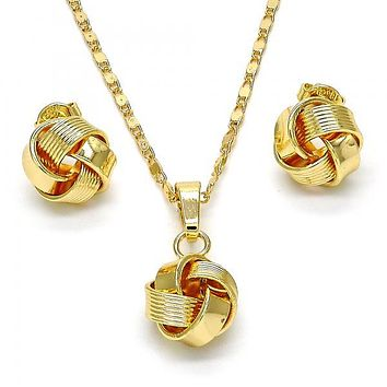 Gold Layered 10.63.0512 Earring and Pendant Adult Set, Love Knot Design, Polished Finish, Golden Tone