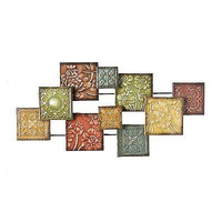 Wall Sculpture Abstract Squares  Floral Home Decor Metal Art New Free Shipping