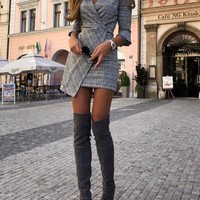 New Black-White Plaid Irregular Side Slit 3/4 Sleeve Bodycon Elegant Party Mini Dress