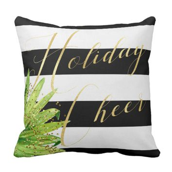 Trendy Elegant Holiday Cheer Striped Throw Pillow
