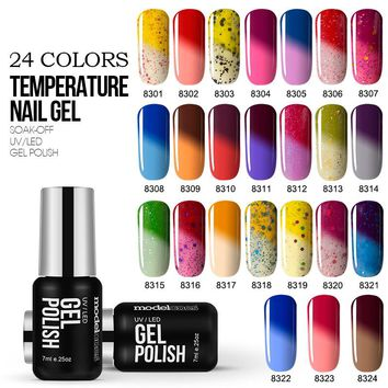 Modelone Newest Color UV Nail Gel Polish Temperature Changing Color UV Gel Polish 7ML Thermal Chameleon Nail Enamel Gel