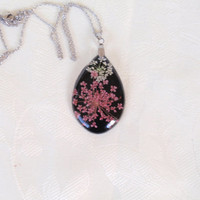 Queen Anne's Lace set into Black Resin Teardrop - Botanical Resin Pendant, Real Pressed Flower Encased in Resin, Reiki charged