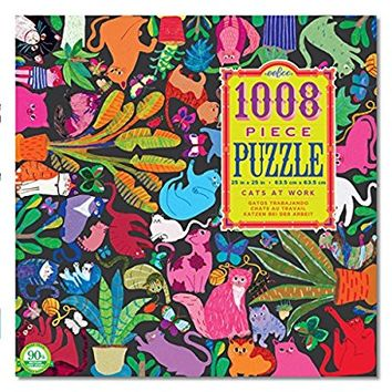 eeBoo Cats At Work Family Jigsaw Puzzle, 1008 pieces
