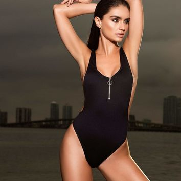 Zipper One Piece Swimsuit