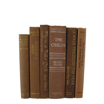 Brown Country Decor, Farmhouse,   Decorative Books, Brown Vintage Books,  Home Decor, Old Books,  Photo Props, Table Setting , Wedding Decor