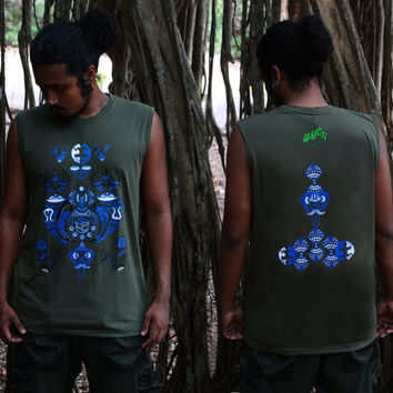 Fractal Sleeveless T-shirt- Shaman Men's T-shirt- Psychedelic Tank- Geometric shirt- Graphic Sleeveless shirt