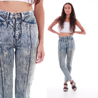 80s Acid Wash High Waist Jeans RARE Vintage Skinny Fit Tapered Leg Pants Hipster Clothing Womens Size XS Small