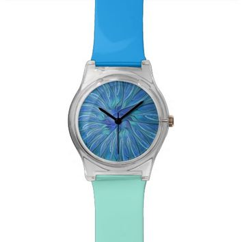 Blue Flower Fantasy Pattern, Abstract Fractal Art Wrist Watches