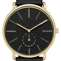 Men's Skagen 'Hagen' Leather Strap Watch, 40mm - Black/ Gold