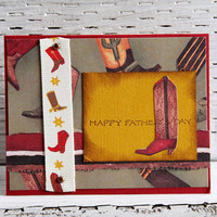 Cowboy Boots Father's Day Card, Handmade Card for Dad, Western Inspired Notecard, Card for Him, Happy Father's Day, Masculine Card