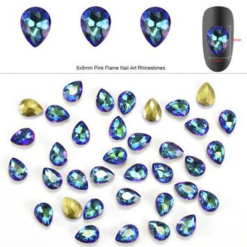 10PCS/Pack Fashion Flame Crystal Glass Nail Rhinestones DIY Water Drop Gems 3D Nail Art Accessory Decorations Beauty Tips CH101