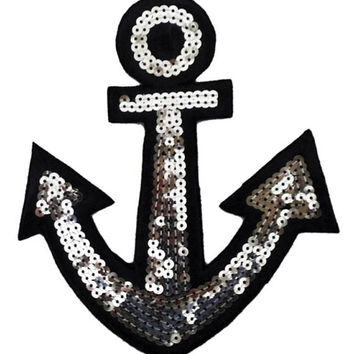 XL Extra Large Cute Navy Anchor Boating Sailor Sequins Patch 16cm Applique