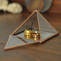 Pyramid Display Box - small glass pyramid - jewelry box - hinged - silver or copper - eco friendly