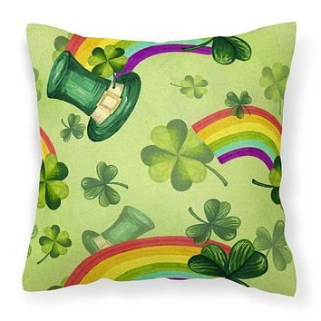 Watercolor St Patrick's Day Lucky Leprechan Fabric Decorative Pillow BB7560PW1414