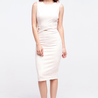(alq) Crossed cut out knee length blush dress