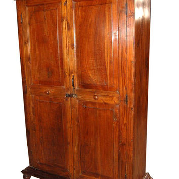 Antique Colonial Armoire Anglo Indian Teak Cabinet Warbrobe Chest 19c Old World Spanish Style