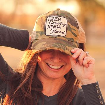 Kinda Country Kinda Hood Trucker Hat in Distressed Camo
