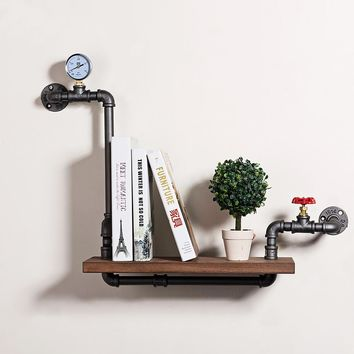 Retro Art Iron Pipe Wall Decoration/Book Display Shelf