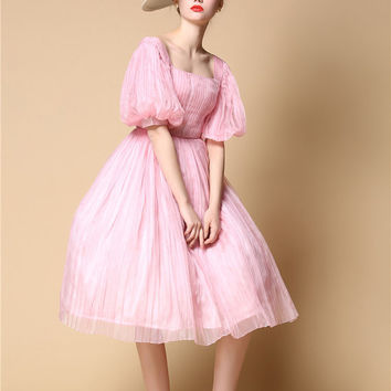 Pastel Pink Pure Silk Mid Century Short Wedding Gown Puff Bishop Sleeve Pleated Rose Garden Wedding Dress Light Pink V Back Party Prom Dress