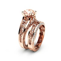 Special Reserved - Rose Gold Morganite Engagement Ring Set -1st payment