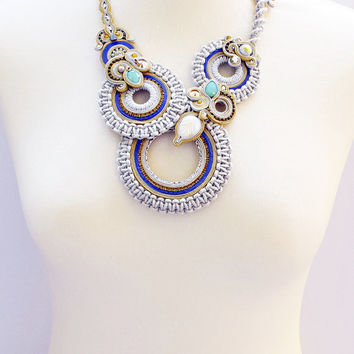 On SALE Romantic soutache necklace.