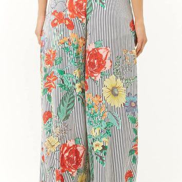 Floral Pinstriped High-Waisted Pants